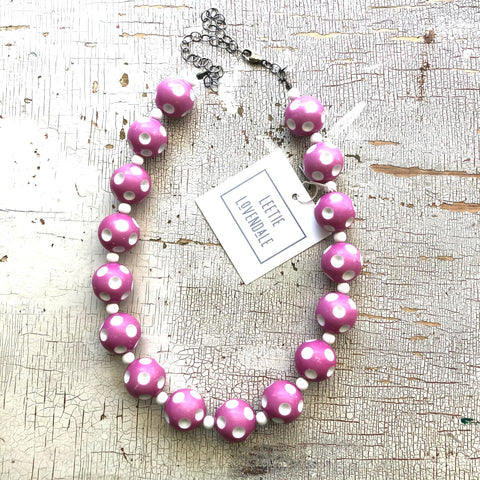 Violet Polka Dot Heirloom Marco Necklace