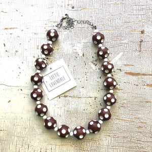 Brown Polka Dot Heirloom Marco Necklace