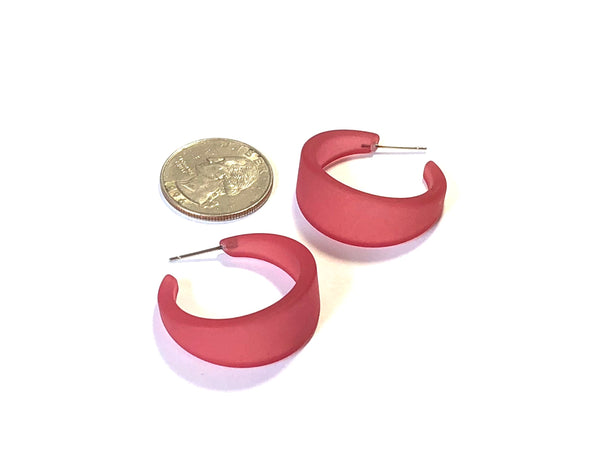 cranberry hoop earrings frosted