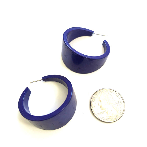 navy lucite hoop earrings