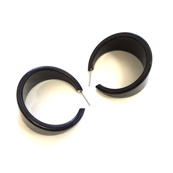 Black Lucite Bettie Hoop Earrings
