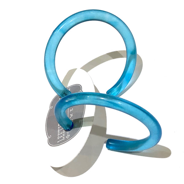 Aqua Blue Lucite Extra Large Jelly Tube Hoop Earrings 2 inch