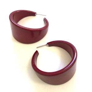 burgundy hoop earrings