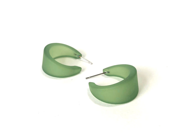 frosted green lucite hoops