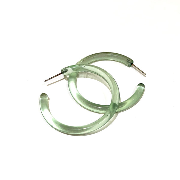 Seafoam Green Transparent Large Lucite Skinny Jelly Tube Hoop Earrings