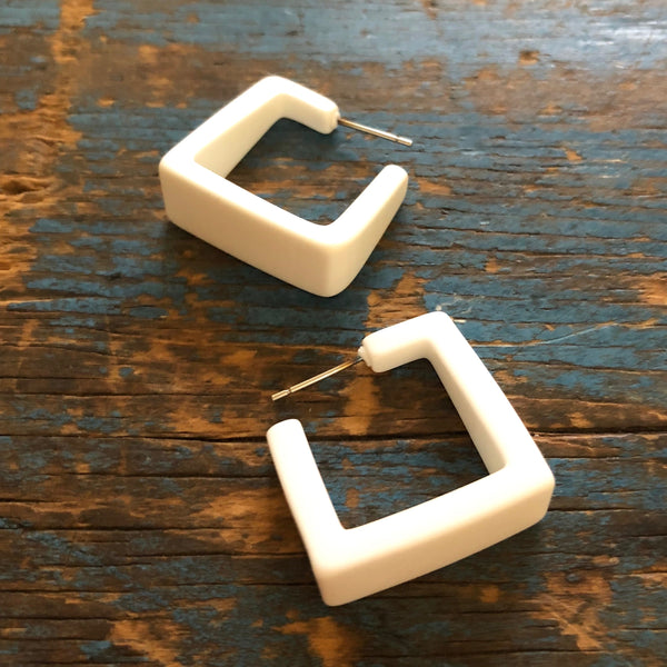 tapered square white hoops