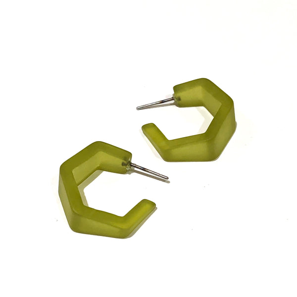 olive geometric earrings