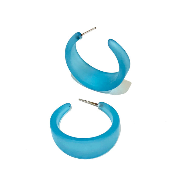 retro blue hoop earrings