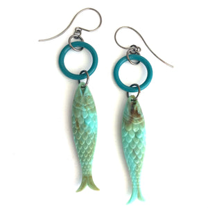 Turquoise & Teal Fish A Lure-Ing Earrings