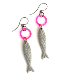 Grey & Neon Pink Fish A Lure-Ing Earrings