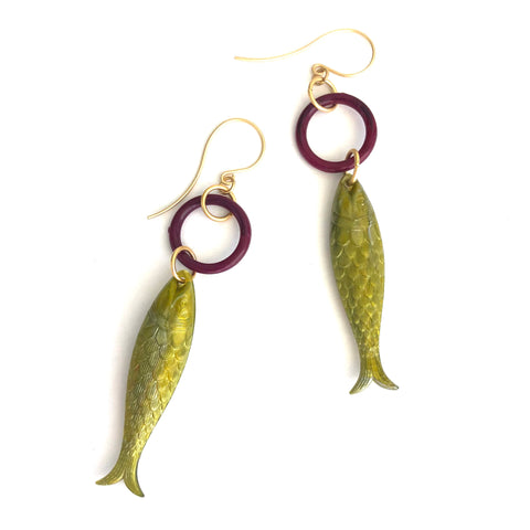 Olive & Plum Fish A Lure-Ing Earrings