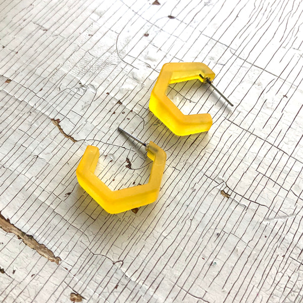 yellow frosted acrylic hoops