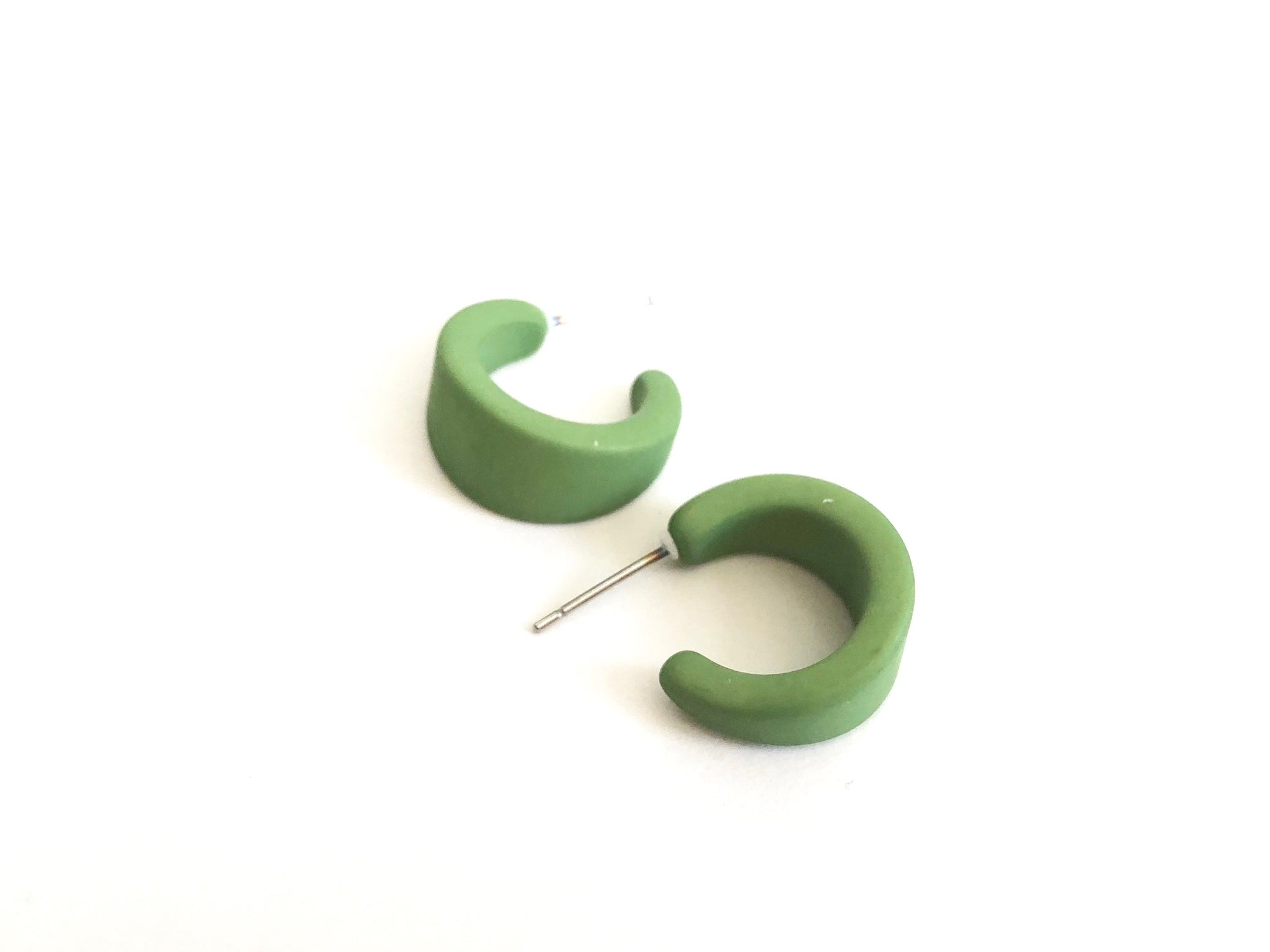 Pear Green Matte Mini Boom Hoop Earrings