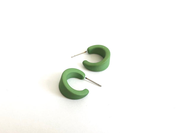 Pear Green Hoop Earrings | Matte Lucite Mini Boom Hoops