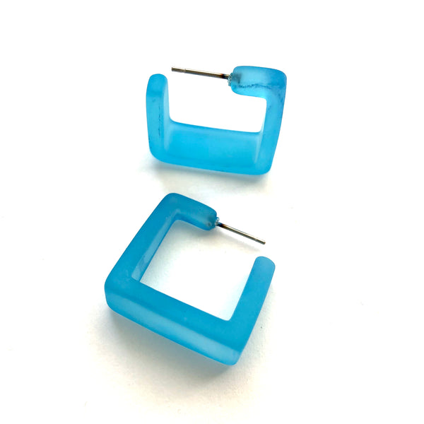 aqua blue square hoops
