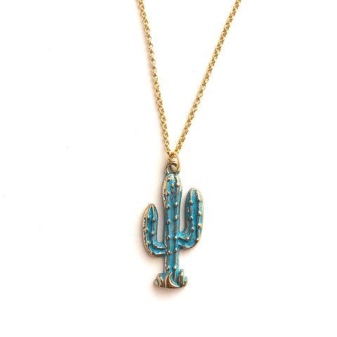 blue cactus necklace