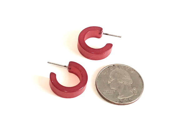 Cranberry Red Moonglow Hugger Hoop Earrings