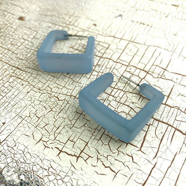 teal blue square hoops