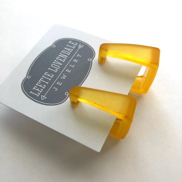mustard yellow square earrings