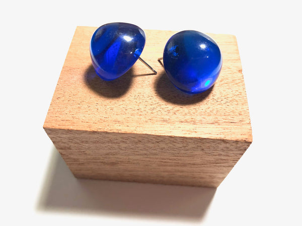Capri Blue Studs | Aqua Transparent Retro Button Stud Earrings