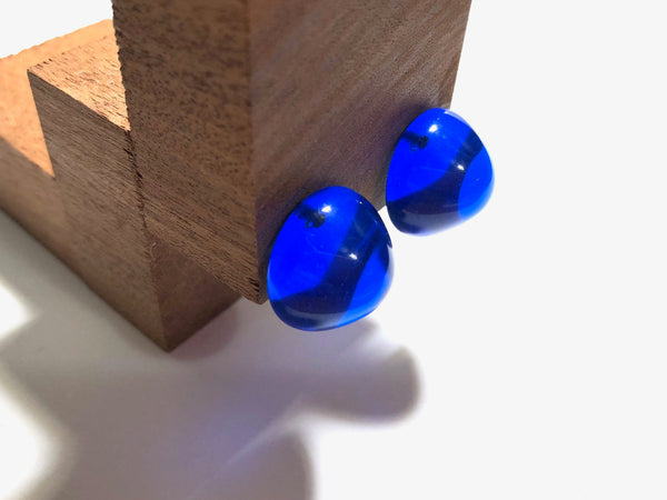 Aqua Blue Large Gumdrop Stud Earrings