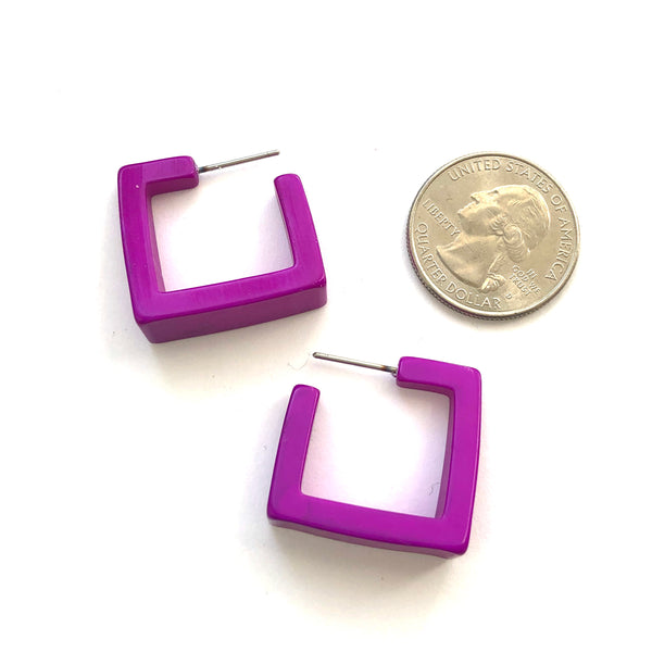 bright purple square hoops