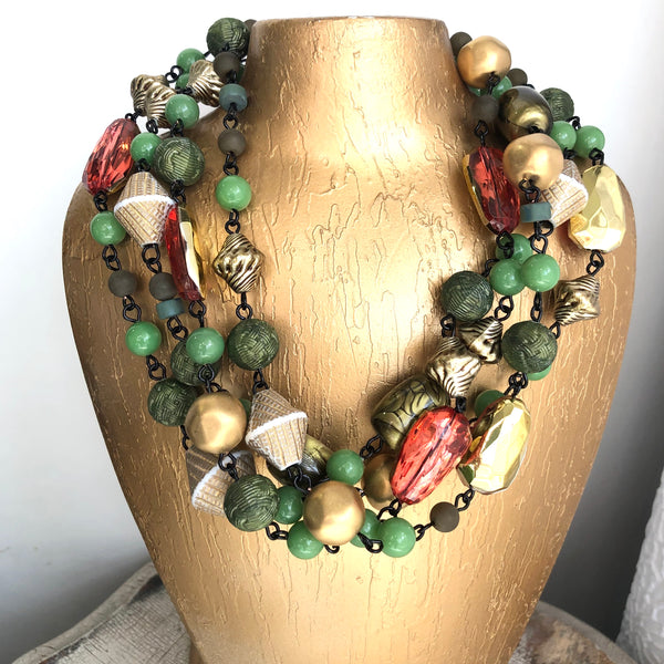 Metallic Gold & Jungle Green Statement Necklace