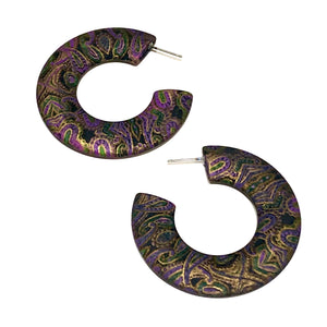 black gold paisley hoops