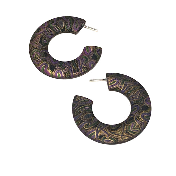black purple paisley hoops