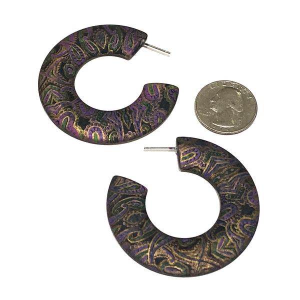 Black & Gold Paisley Pattern Decoupage Twiggy Hoop Earrings