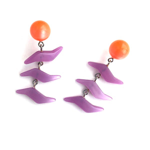 Melon & Lilac ZigZag Moonglow Statement Earrings