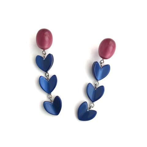Cranberry & Cobalt Ivy Leaf Drop Moonglow Statement Earrings
