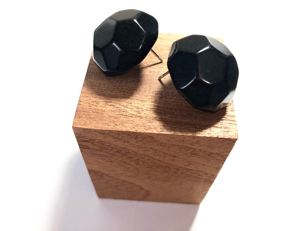 faceted black studs