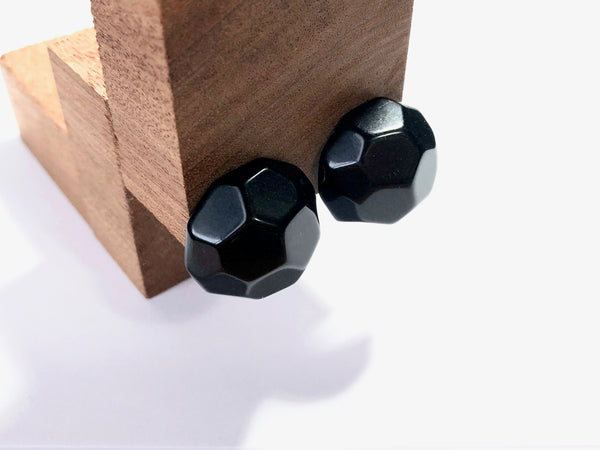 black faceted studs