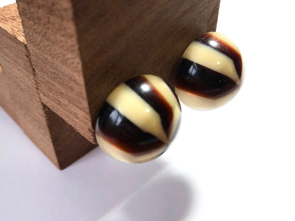 brown stripe studs