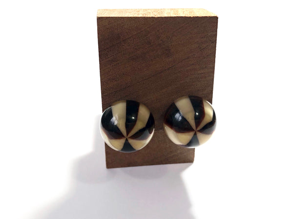 brown stripe stud earrings