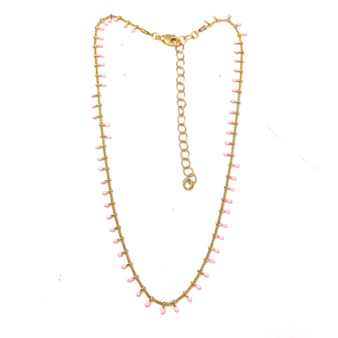 Pink Swiss Dot Gold Necklace
