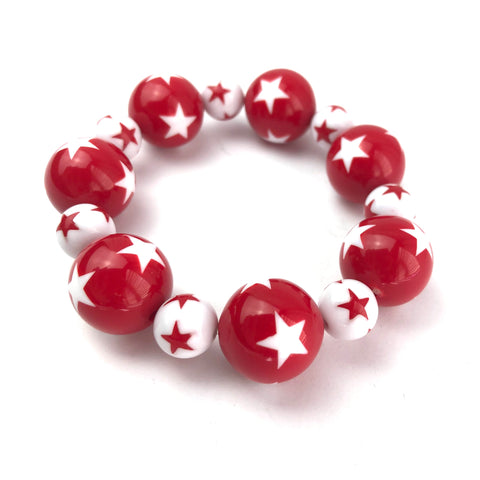 Red & White Star Statement Stack Bracelet