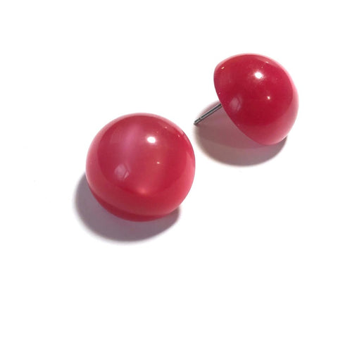 Cranberry Stud Earrings| Large Moonglow Retro Vintage Lucite Button Studs