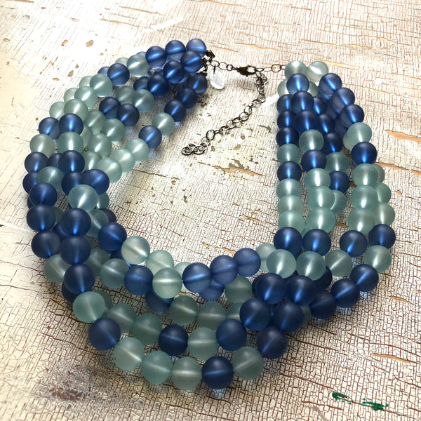 Navy and Teal Frosted Lucite Sylvie Statement Necklace
