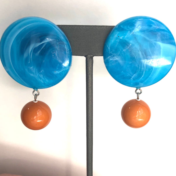 butterscotch aqua earrings