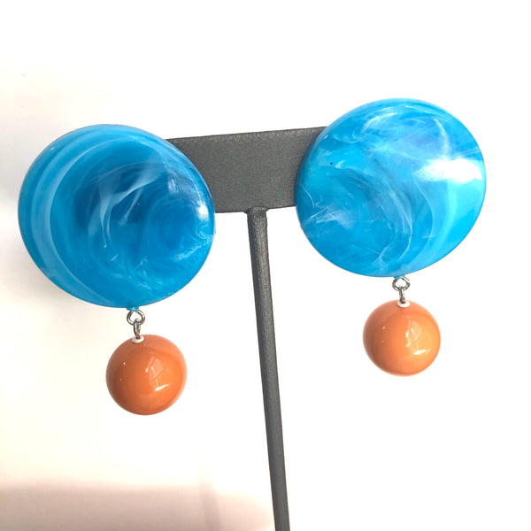 aqua lucite earrings