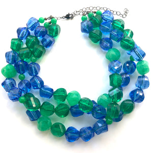 blue green sparkle necklace