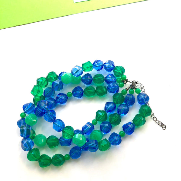chunky blue green necklace