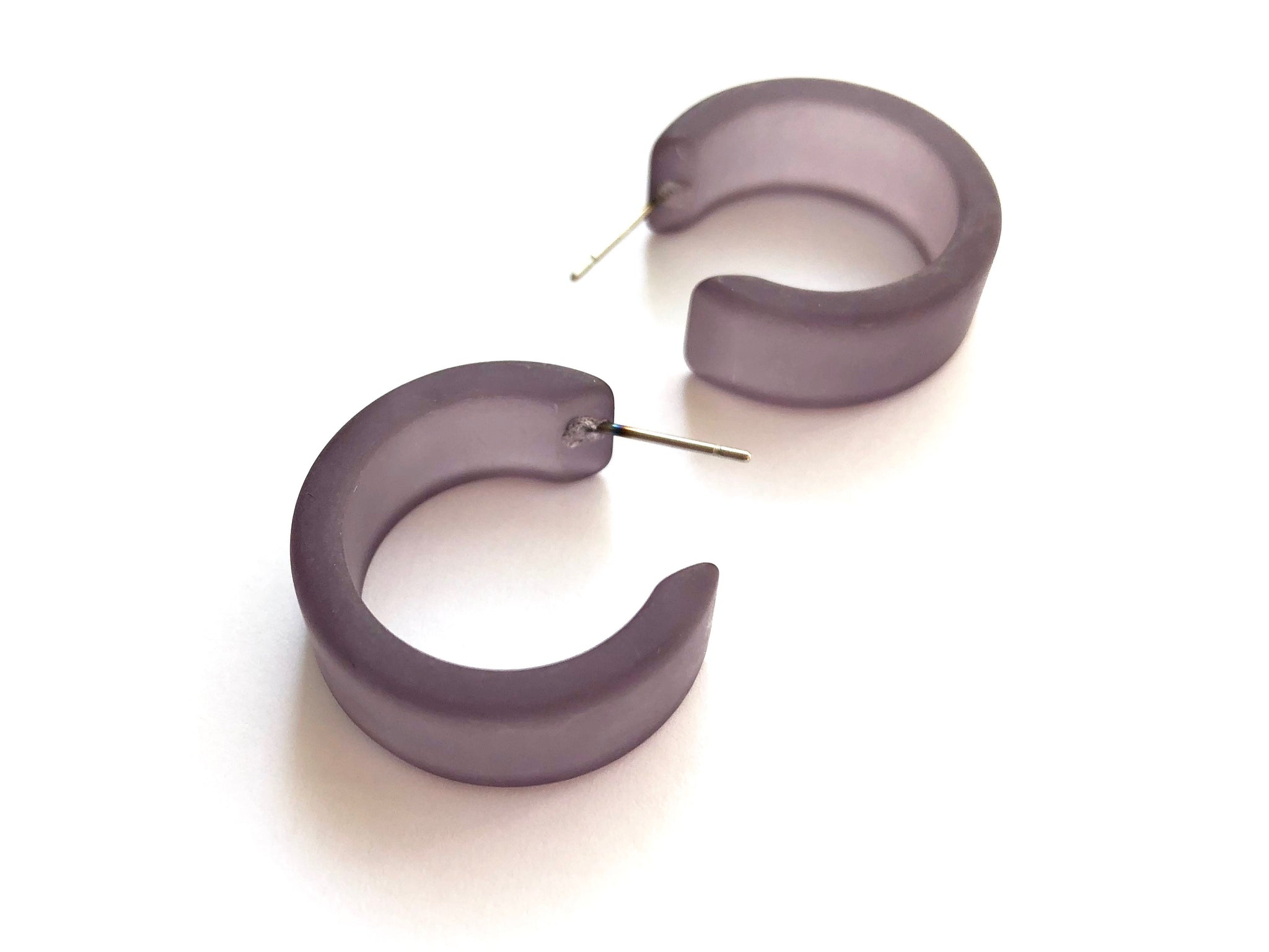 Silver Gray Hoop Earrings | Vintage Frosted Lucite Wide Classic Hoops