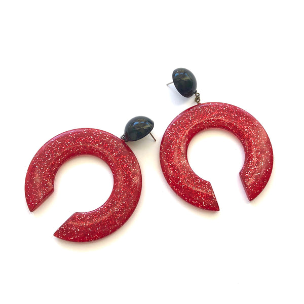 red black earrings