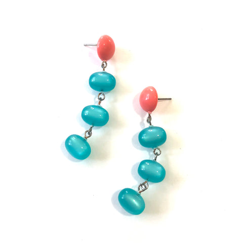 Coral & Teal Moonglow Fish Scale Earrings