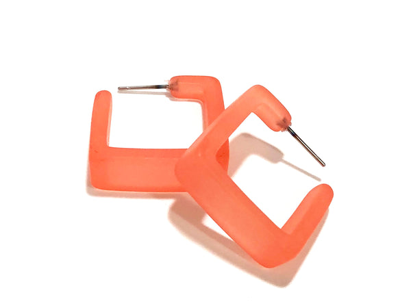 salmon square earrings