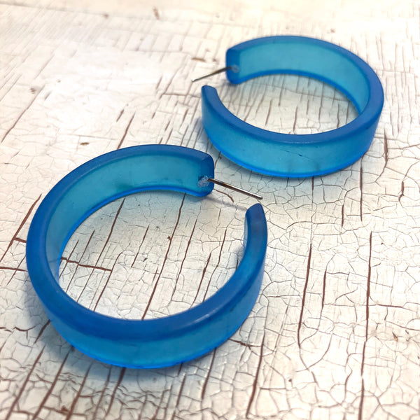 large blue hoop earrings