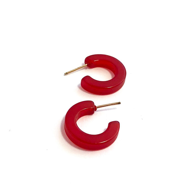 Skinny Cherry Red Moonglow Narrow Hugger Hoop Earrings